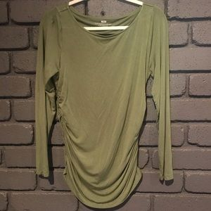 Soft Surroundings Olive Green Ruched Shirt Small